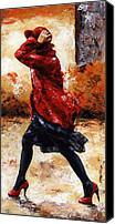 Breeze Canvas Prints - Lady in Red 28 Canvas Print by Emerico Toth