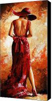 Attractive Canvas Prints - Lady in red  39 Canvas Print by Emerico Toth