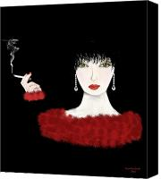 Art Deco Canvas Prints - Lady in Red Art Deco Canvas Print by Tanya Van Gorder