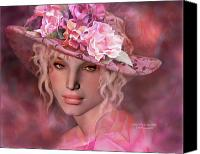 The Art Of Carol Cavalaris Mixed Media Canvas Prints - Lady In The Rose Hat Canvas Print by Carol Cavalaris
