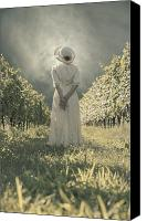Alone Canvas Prints - Lady In Vineyard Canvas Print by Joana Kruse