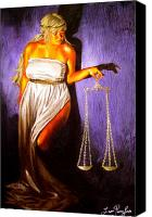 Justice Painting Canvas Prints - Lady Justice Long Scales Canvas Print by Laura Pierre-Louis