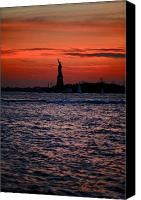 City Canvas Prints - Lady Liberty Canvas Print by Lone  Dakota Photography