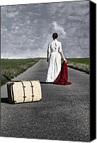 Rear Canvas Prints - Lady On The Road Canvas Print by Joana Kruse