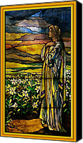Colorful Glass Art Canvas Prints - Lady Stained Glass Window Canvas Print by Thomas Woolworth