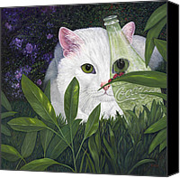 Pet Photography Painting Canvas Prints - Ladybugs and Cat Canvas Print by Karen Zuk Rosenblatt