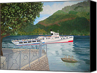 Lago Di Como Canvas Prints - Lago di Como Ferry Canvas Print by Linda Scott
