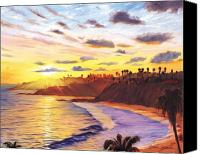 Beach Canvas Prints - Laguna Village Sunset Canvas Print by Steve Simon
