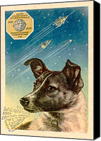 3rd Canvas Prints - Laika The Space Dog Postcard Canvas Print by Detlev Van Ravenswaay