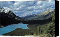 Mountain Scenes Canvas Prints - Lake And Mountains In The Canadian Canvas Print by John Doornkamp