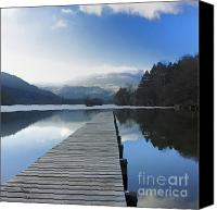Boardwalks Photo Canvas Prints - Lake Chambon. Auvergne. France Canvas Print by Bernard Jaubert