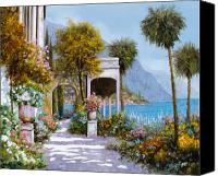 Flower Canvas Prints - Lake Como-la passeggiata al lago Canvas Print by Guido Borelli