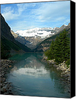 Swim Canvas Prints - Lake Louise Canvas Print by Jim Chamberlain