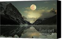 Canvas Greeting Cards Canvas Prints - Lake Louise Moon Glow Canvas Print by Andrea Hazel Ihlefeld