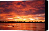 Red Pyrography Canvas Prints - Lake Loveland Sunrise Canvas Print by Billie Colson