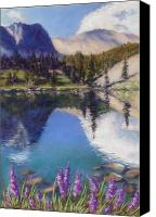 Mountains Pastels Canvas Prints - Lake Marie Canvas Print by Zanobia Shalks