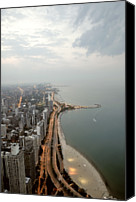 Lake Michigan Canvas Prints - Lake Michigan And Chicago Skyline. Canvas Print by Ixefra