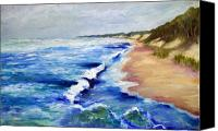 Great Painting Canvas Prints - Lake Michigan Beach with Whitecaps Canvas Print by Michelle Calkins