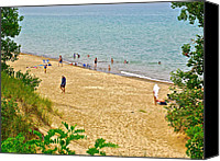 Indiana Dunes Canvas Prints - Lake Michigan shore in Indiana Dunes National Lakeshore Canvas Print by Ruth Hager