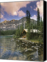 Log Cabins Canvas Prints - Lake Ohara Lodge Canvas Print by Darwin Wiggett
