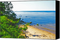 Ontario Mixed Media Canvas Prints - Lake Ontario Beach - New York Canvas Print by Steve Ohlsen