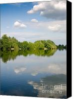 Fine Photography Art Canvas Prints - LAKE REFLECTION dinton pastures lakes and nature reserve reading berkshire uk Canvas Print by Andy Smy