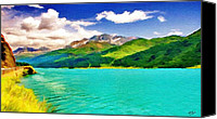 Alp Canvas Prints - Lake Sils Canvas Print by Jeff Kolker