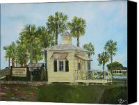 Florida Bridge Painting Canvas Prints - Lake Sumter Bridge Authority Canvas Print by Deb Hassinger