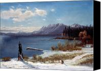 Snowy Canvas Prints - Lake Tahoe Canvas Print by Albert Bierstadt