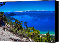 Biking Canvas Prints - Lake Tahoe from Flume Trail over Sand Harbor State Park Canvas Print by Scott McGuire