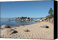 Beach Scene Canvas Prints - Lake Tahoe Morning Canvas Print by Carol Groenen