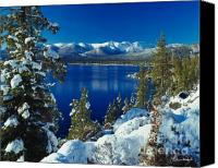 Lake Canvas Prints - Lake Tahoe Winter Canvas Print by Vance Fox