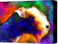 Dogs Jewelry Canvas Prints - Lakeland terrier dog painting print Canvas Print by Svetlana Novikova