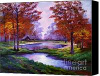 Featured Painting Canvas Prints - Lakeside Cabin Canvas Print by David Lloyd Glover