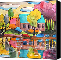Work On Paper Drawings Canvas Prints - Lakeside Dream House Canvas Print by John  Williams