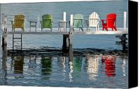 Pier Canvas Prints - Lakeside Living Canvas Print by Steve Gadomski