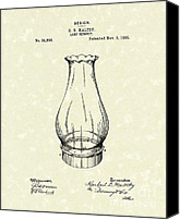 Oil Lamp Canvas Prints - Lamp Chimney 1895 Patent Art Canvas Print by Prior Art Design