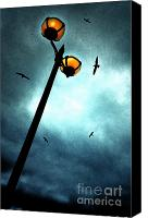 Storm Photo Canvas Prints - Lamps With Birds Canvas Print by Meirion Matthias