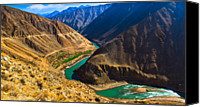 Tibetan Canvas Prints - Lancang River Canyon Attibetan Plateau Canvas Print by Feng Wei Photography