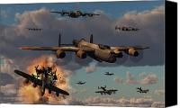 Royal Air Force Canvas Prints - Lancaster Heavy Bombers Of The Royal Canvas Print by Mark Stevenson