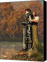 Middle Ages Digital Art Canvas Prints - Lancelot and Guinevere Canvas Print by Daniel Eskridge