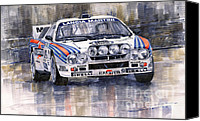 Racing Car Canvas Prints - Lancia 037 Martini Rally 1983 Canvas Print by Yuriy  Shevchuk