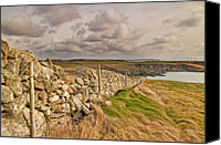 Stone Wall Canvas Prints - Land And Sea Canvas Print by Mark Youlden