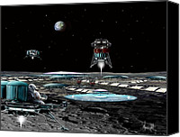 Rocketship Canvas Prints - Landing at Aristarchus City Canvas Print by Bill Wright