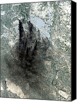 Second Gulf War Canvas Prints - Landsat Image Of Baghdad Showing Dark Canvas Print by Everett