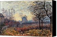 Louveciennes Painting Canvas Prints - Landscape near Louveciennes Canvas Print by Alfred Sisley