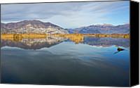 Mountain Scene Canvas Prints - Landscape Of Sebino With Lake Iseo Canvas Print by Apostoli Rossella