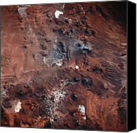 Barren Canvas Prints - Landscape Viewed From Space Canvas Print by Stockbyte