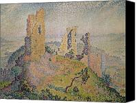 Ruin Painting Canvas Prints - Landscape with a Ruined Castle  Canvas Print by Paul Signac