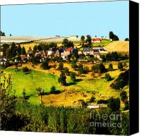 Mountain Scene Mixed Media Canvas Prints - Landscape with apple yards in Limoges France Canvas Print by Wino Evertz